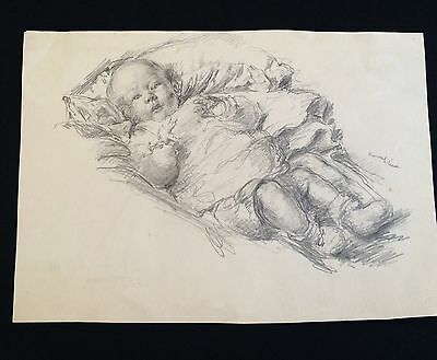 Rare Original Signed Pencil Sketch of a Baby by Listed Artist Russell Reeve