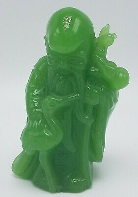 Antique Chinese Green Resin SHOU SHOUXING Carved Figurine Longevity