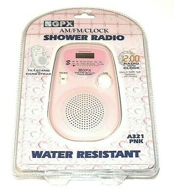 GPX A321 PNK Water Resistant AM/FM/Clock Shower Radio - Pink