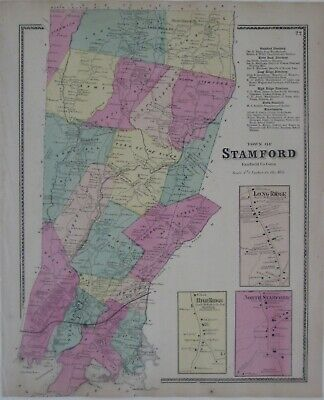 Original 1867 Hand Colored Map STAMFORD Fairfield County Connecticut Shippan