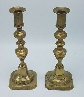 """Pair of Antique Brass Candlestick Holders 8 3/4"""" Tall Victorian Vintage"""