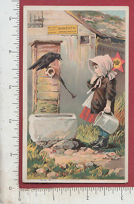 A518 Domestic Sewing Machine trade card crow Flan McCormick, Fall River, MA