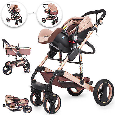 Baby Stroller Buggy With Car Seat Pram Pushchair Aluminum Alloy Reclining Travel