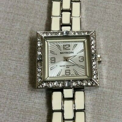 3af914121 Miykon Womens Watch Crystal Square White Dial on Silver & White Linked Band  ...