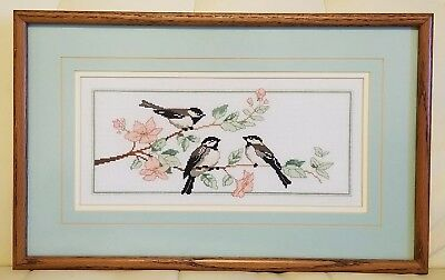 Completed Cross Stitch Custom Framed Birds Flowers Chickadee Sparrow