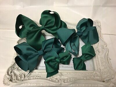 New Set Bundle Of School Bows Hairbows Clips Bottle Green Back To School