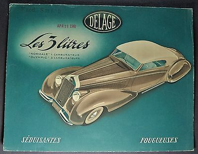 1948-1949 Delage D6 Brochure Sheet 3-Litre, Olympic French Text Excellent Orig