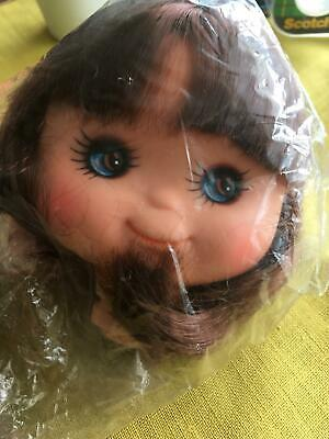 "Rare NOS Vintage 4/"" Flat Face Mold Blue Eye Hong Kong Doll Head Making Supply"