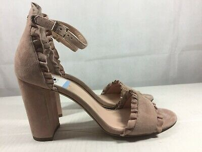 77dc46e394d1 KATE SPADE New York ODELE RUFFLE DUSTY BLUSH SUEDE ANKLE STRAPS CITY SANDALS -