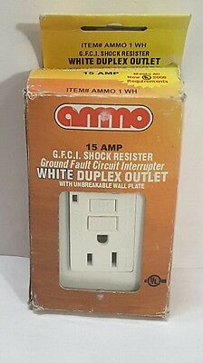 New Ammo Tr-15-Wh G.f.c.i. Shock Resister White Duplex Outlet 15 Amp