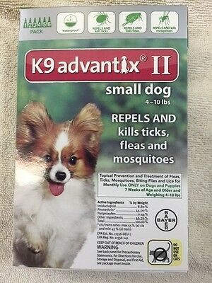 the NEW Bayer K9 Advantix II 6 Pack For Dogs 4-10 lbs, Genuine FREE SHIPPING !!