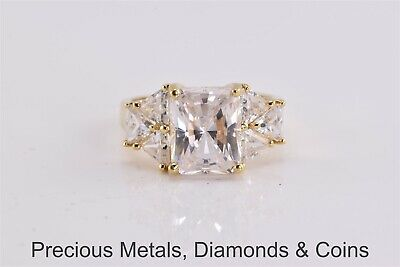 Gold Plated Solitaire w/ Accents Statement Ring Sz: 6
