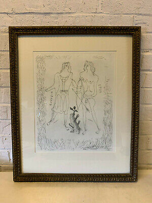 Vintage French Georges Braque Etching Print Eros and Eurybia w/ COA
