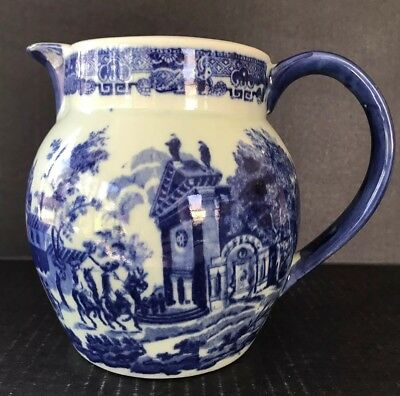"""Flow Blue Victoria Ware Ironstone Pitcher Colonial Setting 6 1/2"""""""
