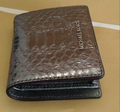 ca42fc135805b2 NWT Michael Kors Money Pieces Flap Card Holder Embossed Leather Pewter $78