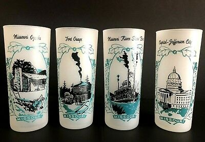Vintage Set Of 4 State Of Missouri Frosted Collectible 16 Oz Glasses