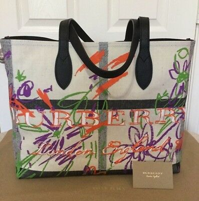 9518e9623f Burberry Reversible Canvas Check Coated Doodle Exploded Floral Tote Bag Nwt