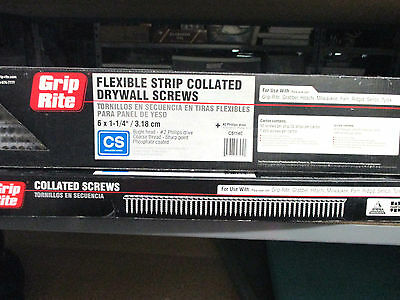 "2 Boxes~GRIP RITE~Collated Drywall Screws~6 x 1 1/4"" Bugle Head #2 Phillips"