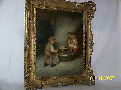 Mark William Langlois 19th Century Original Oil On Canvas Genre Painting