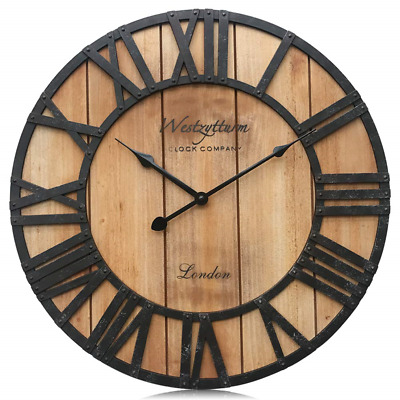 Westzytturm Large Rustic Wood Wall Clocks Battery Operated Non Ticking Quartz to