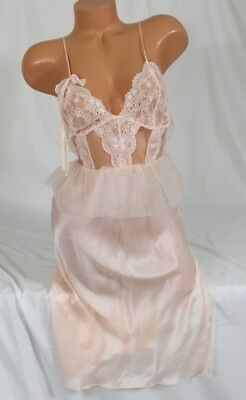 Victorias Secret Designer Collection Champagne Night Gown Silk Lace~ L $328