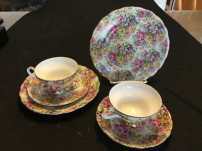 Two 3piece chintz cup,saucer,cake plate set.