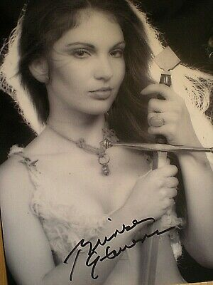 Hand Signed Sexy Photo Brinke Stevens-Very Sultry Look With Sword In Hand-Coa