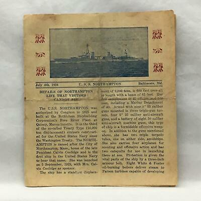 "Flyer July  4 1934 USS Northampton Baltimore MD ""Life That Visitors Cannot See"""
