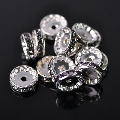 30pcs 12mm Rondelle Lt Grey Crystal Glass Rhinestone Loose Spacer Beads Findings