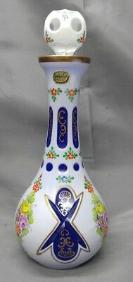 Old vintage Czech Bohemia glass hand painted cut to blue liquor decantor