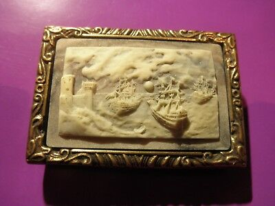 """Belt Buckle INCOLAY 'Sailing Ships in Cove' 2"""" X 3"""" Beige/Brass ///////BEAUTIFUL"""