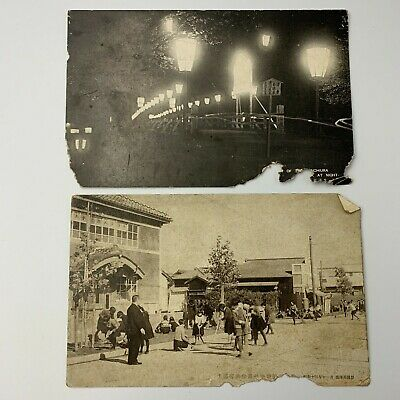 Japanese Old Postcard Bridge City Town  Landscape Antique 2pcs Set