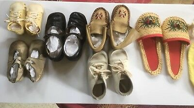 Lof 6 Vintage Antique Victorian Leather Cloth Baby Shoes/ socks