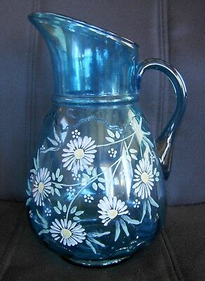 Antique Glass Lemonade Pitcher Blue with Handpainted Daisies 1920's or Earlier