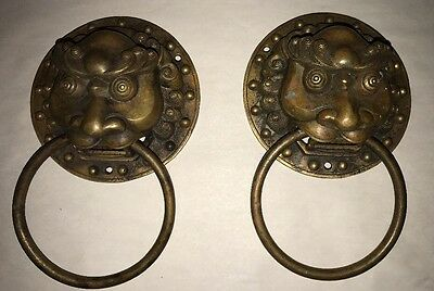 Pair Of Large Antique Chinese/Asian Bronze Lion Face Pulls/hardware