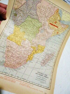 VTG 1947 Atlas Map of South Central Africa French  Belgian Congo Genealogy  WWII