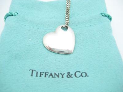"""Tiffany & Co. Sterling Silver Pierced Double Heart Necklace 16"""" - Pouch"""