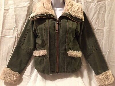 Big Chill Girls Long Sleeve Zip Up army green jacket coat with Fur Trim