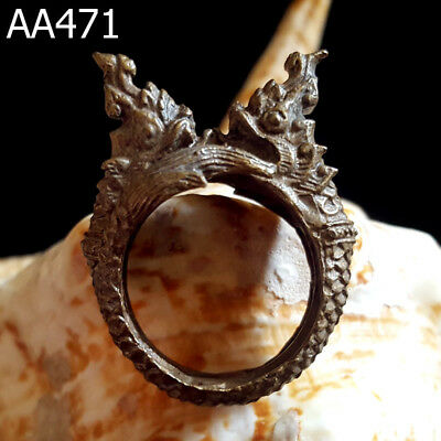 Solid Huge Bronze Naga 2Heads Serpent Snake Ring for Bikers Thai Amulet #471g