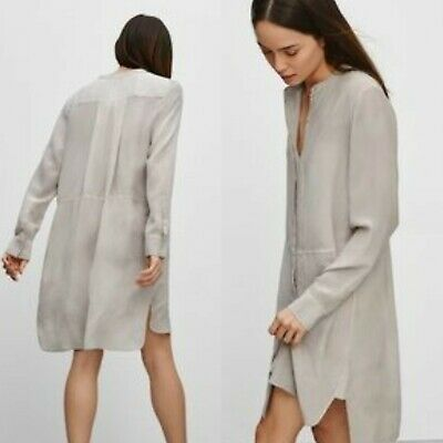 464cc87754525 Wilfred by Aritzia Women s Sz S-M 100% Silk Bossut Shibori Shirt Dress Gray   180