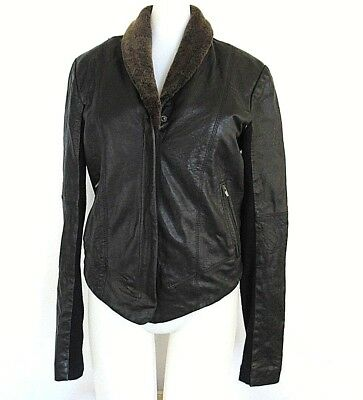 VEDA Womens Black Small Leather Dom Lamb Shearling Shawl Collar Front Zip Jacket