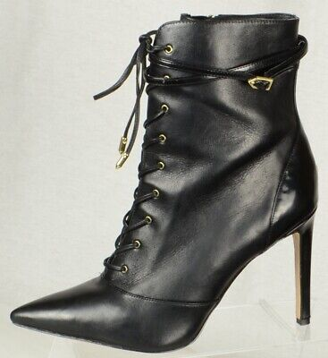 f27a89833bb8 Sam Edelman Womens Boots Size 10M Black Leather Lace Up Side Zip High Heels