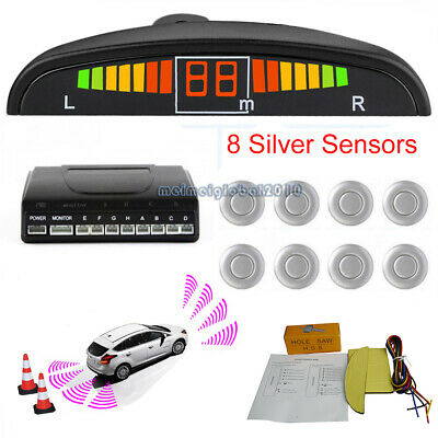Silver Front and Rear 8 Sensors Car Reverse Parking Kit LED Buzzer Alarm +Switch