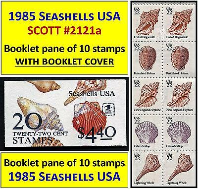 1985 SEASHELLS USA issue SCOTT #2121a BOOKLET PANE of TEN 22-cents STAMPS (113)