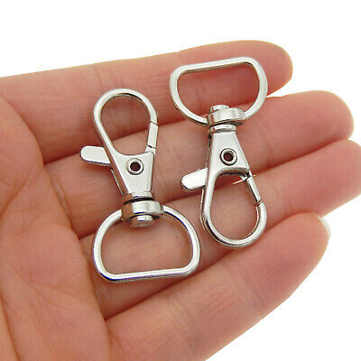10 pcs Silver Plated Alloy Lobster Clasps Swivel Clips Key Rings Key Chains