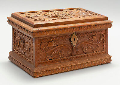 Antique 19th Century Ornately Hand Carved Wooden Lift-Top Document Box Folk Art