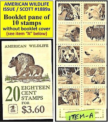 1981 AMERICAN WILDLIFE - Scott #1889a BOOKLET PANE 10 TEN 18-cent STAMPS (112A)