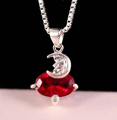Silver Crescent Moon Red Pendant Necklace w/Free Jewelry Box and Shipping