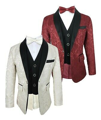 Page Boys Wedding Prom Party Embroidered Red and Ivory All in One Suits