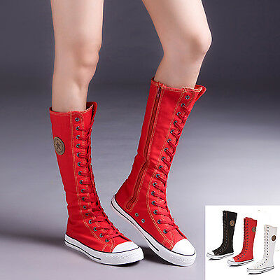 Girls' Women's Canvas Boots Knee High Flats Lace Up Fashion Sneakers Zip Shoes
